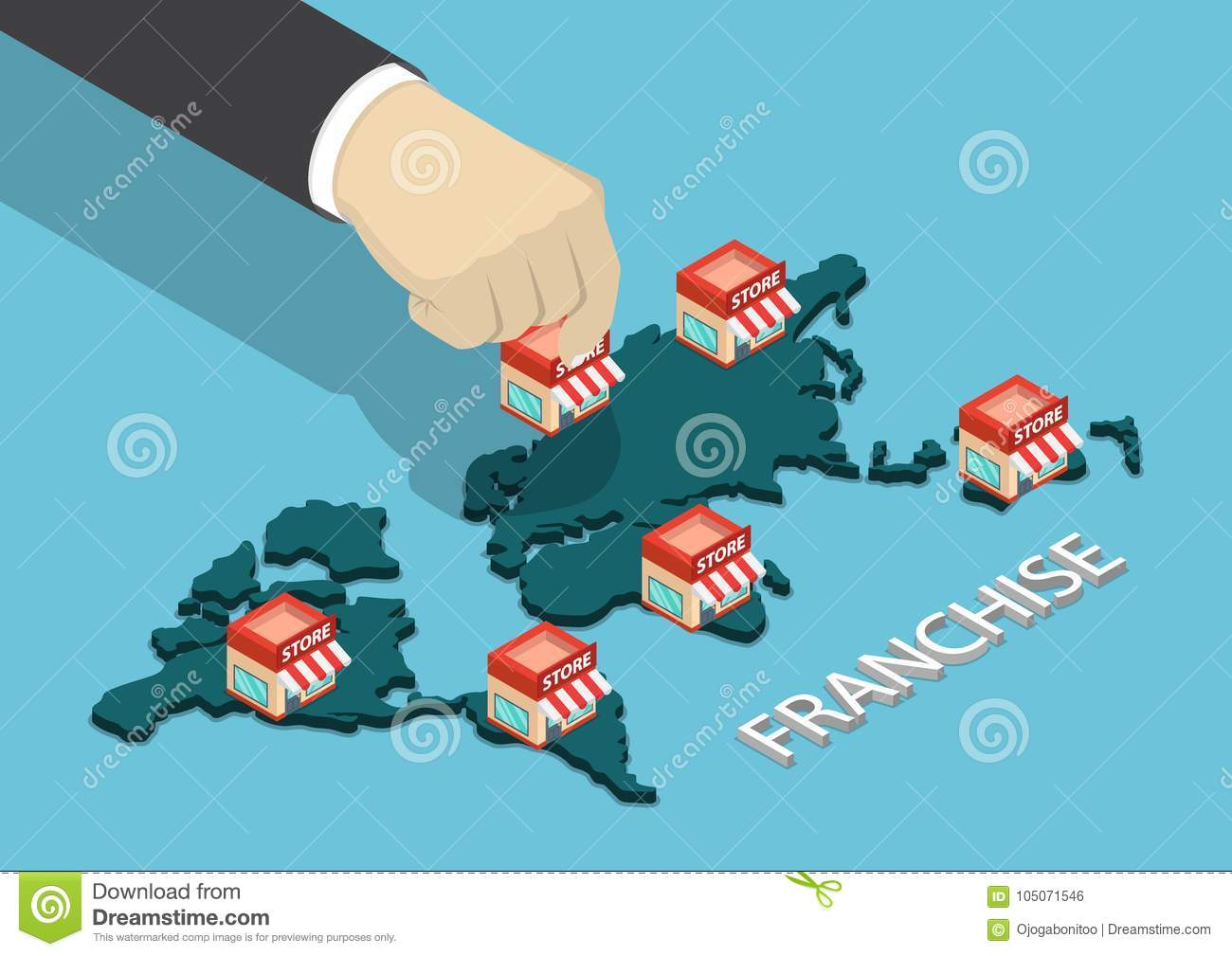 World Map Store.Isometric Businessman Hand Put Franchise Store On World Map Stock