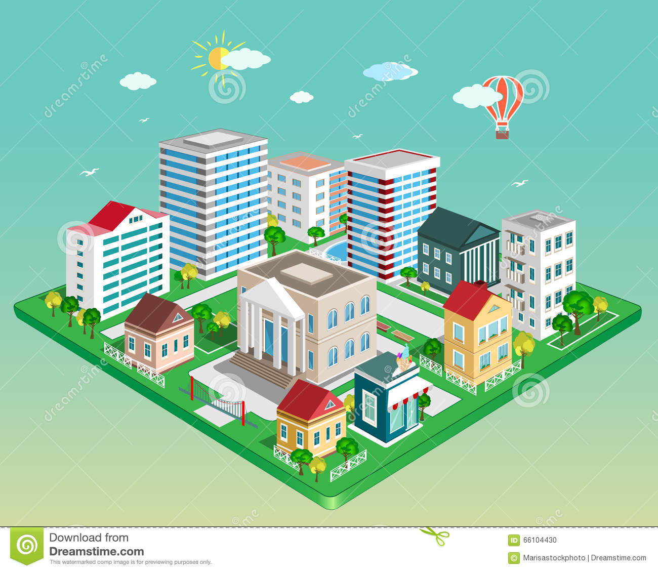 Flat 3d isometric city set of detailed isometric vector for 3d flat design online