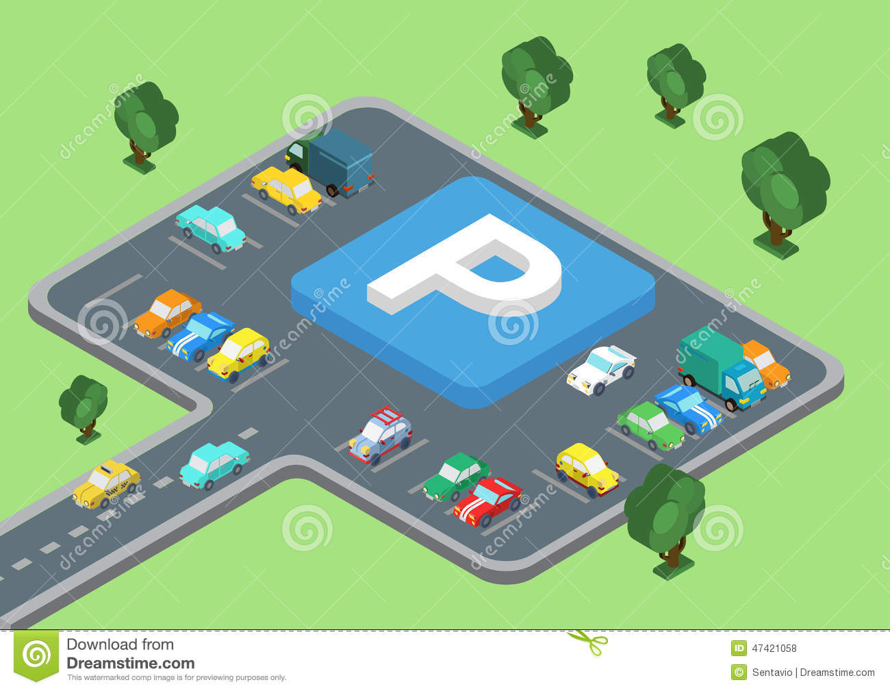 Flat 3d isometric concept of public outdoor open parking for 3d flat design online