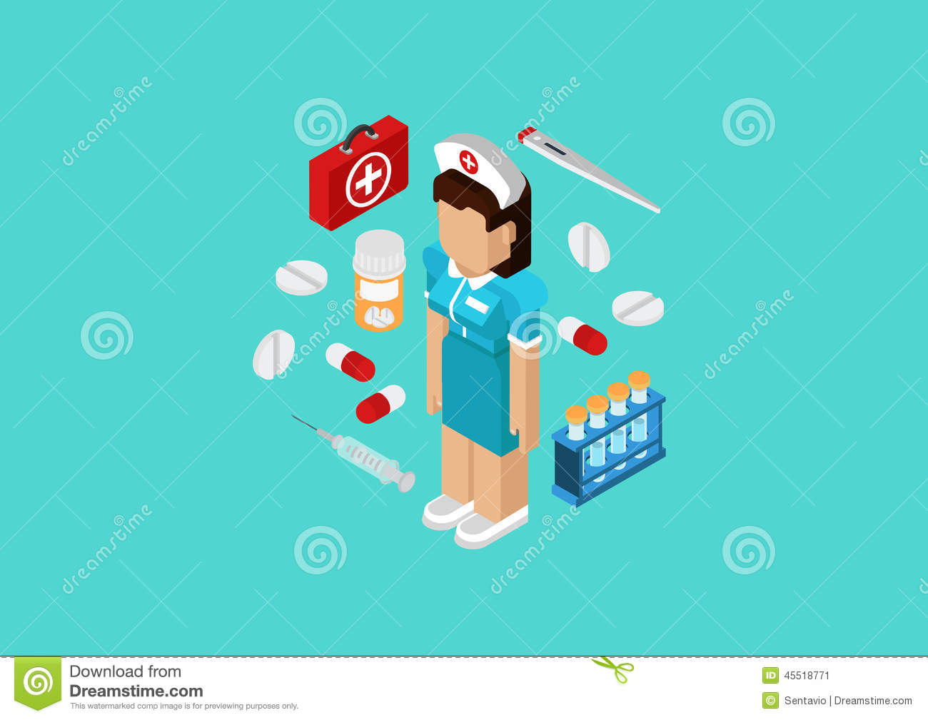 Flat 3d isometric concept web infographic medical nurse for 3d flat design online