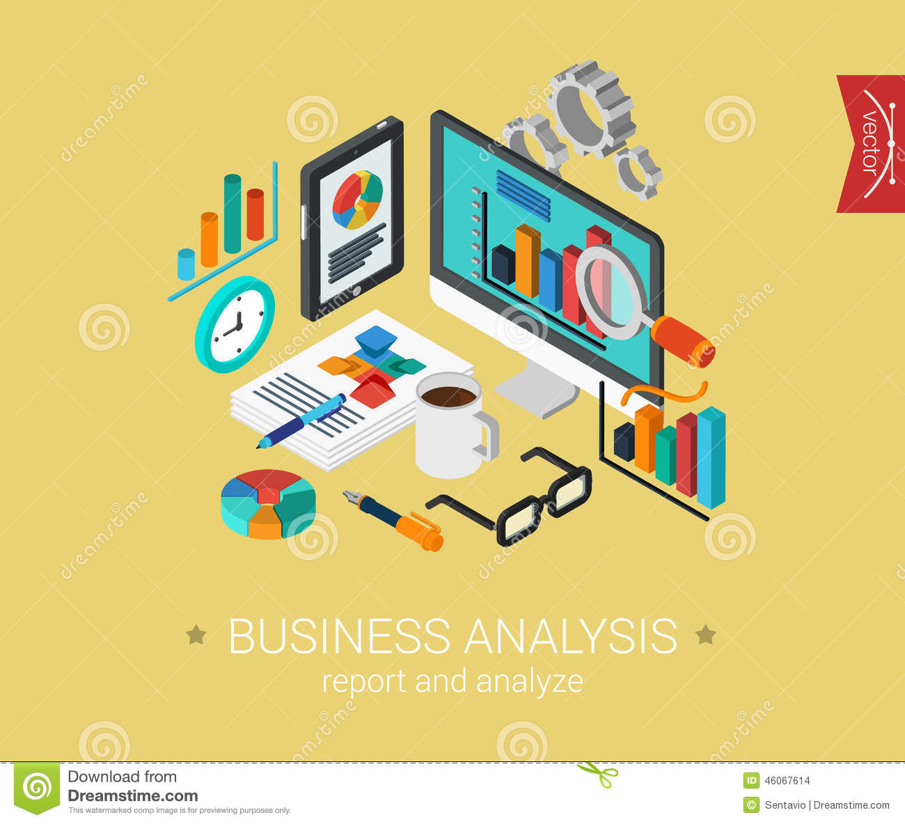 Flat 3d isometric design concept web business analysis for 3d flat design online