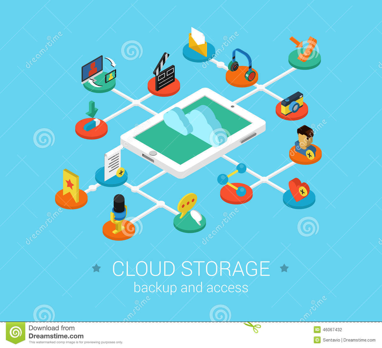 Flat 3d Isometric Design Concept Web Cloud Storage Stock
