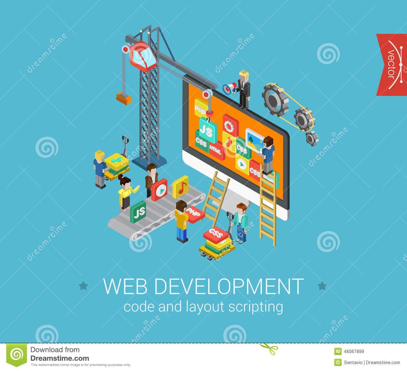 Flat 3d Isometric Design Concept Web Infographic Stock Illustration