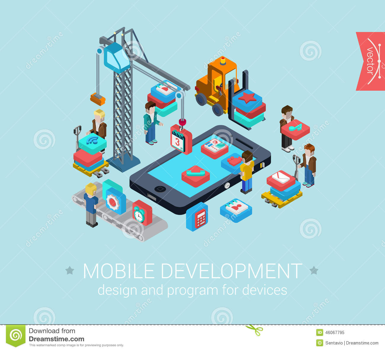 Flat 3d Isometric Design Concept Web Infographic Stock