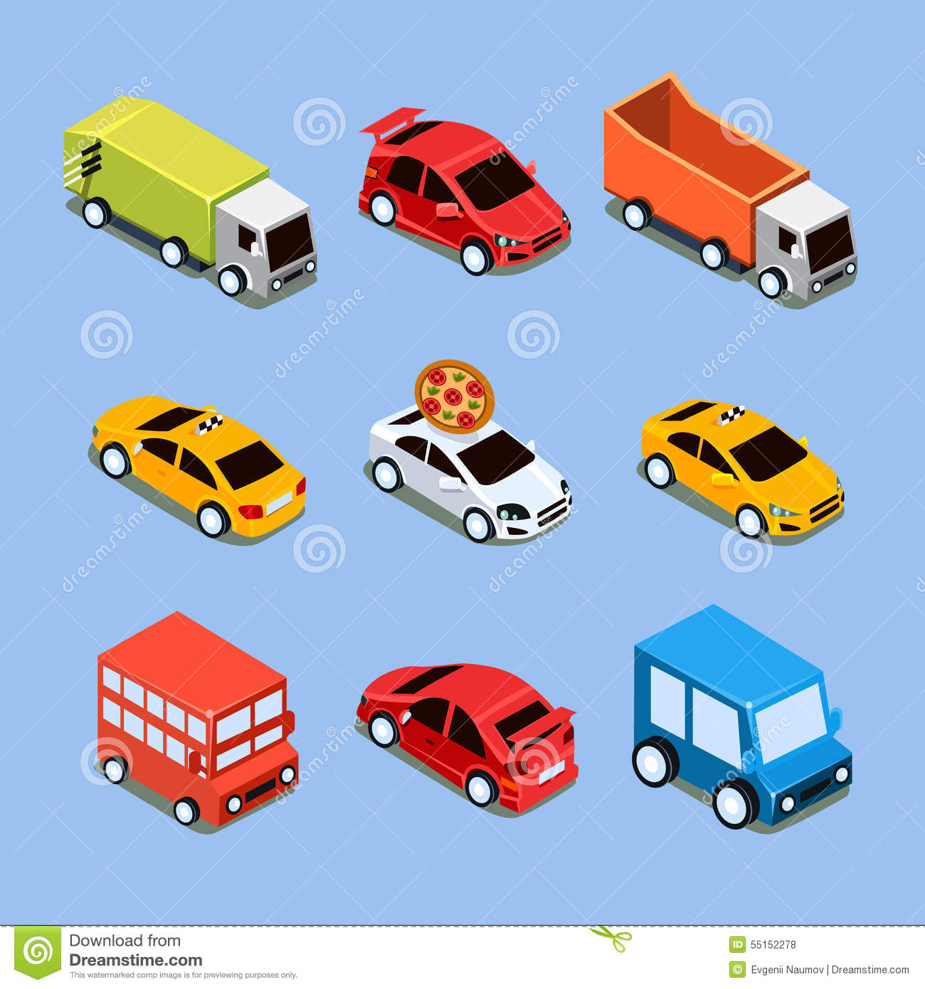4 Wheel Bicycle Car >> Flat 3d Isometric High Quality City Transport Stock Vector - Image: 55152278
