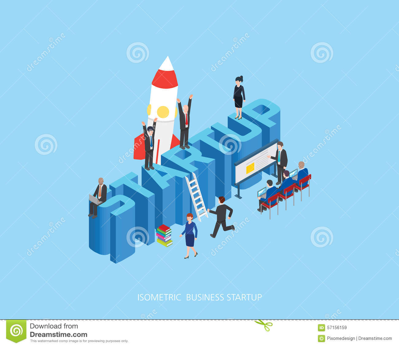 Flat 3d Isometric Illustration Stark Up Concept Design