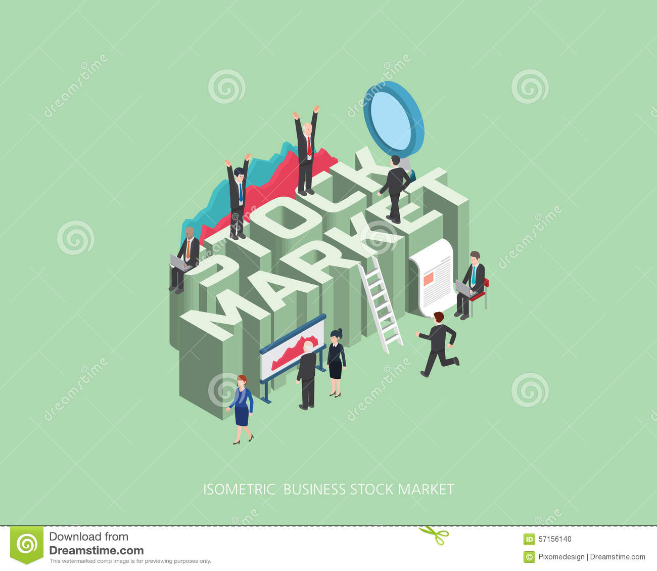 Flat 3d isometric illustration stock market concept design for 3d flat design online
