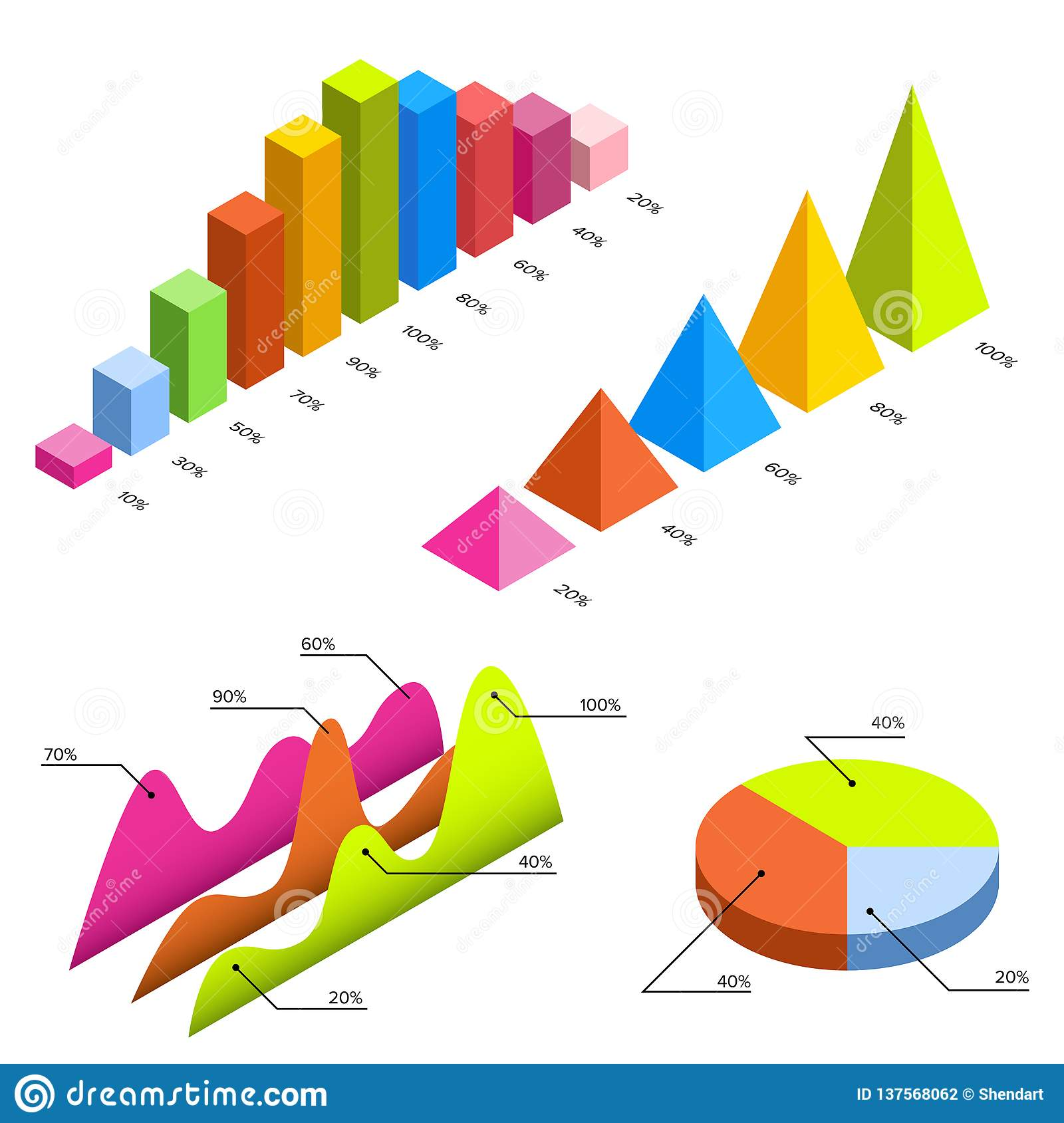 Flat 3d isometric infographic for your business presentations. Big set of infographics with data icons, charts and