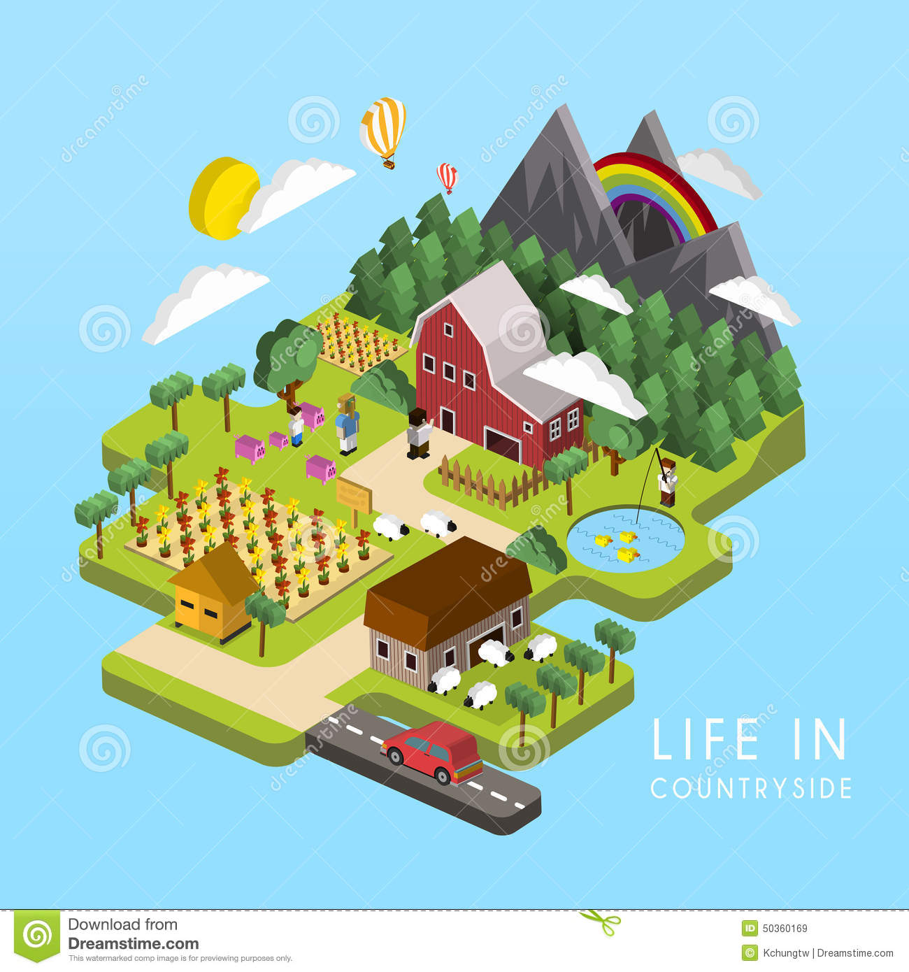 Flat 3d isometric life in countryside illustration stock for 3d flat design online