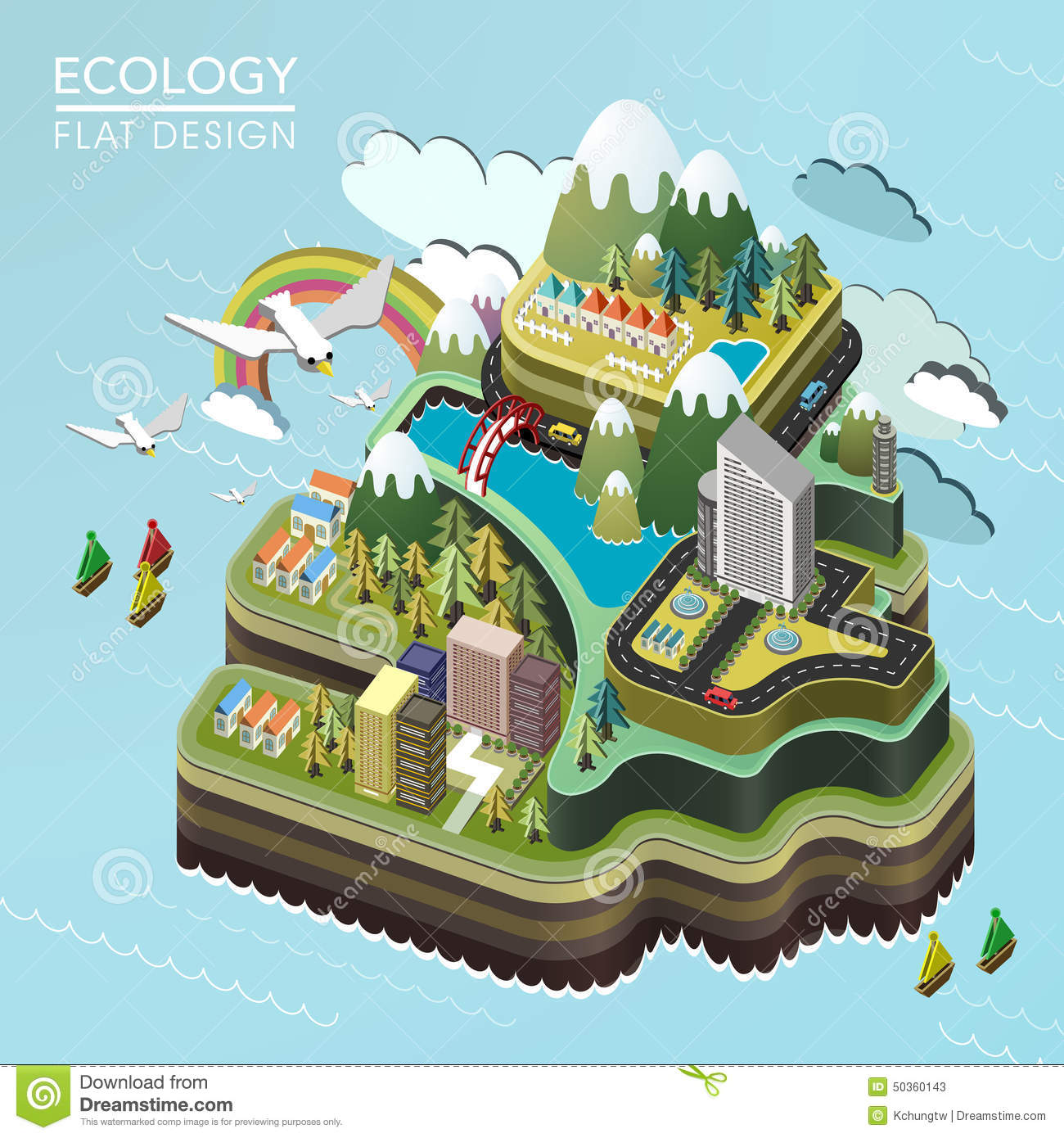 Flat 3d isometric lovely island landscape stock vector for 3d flat design online