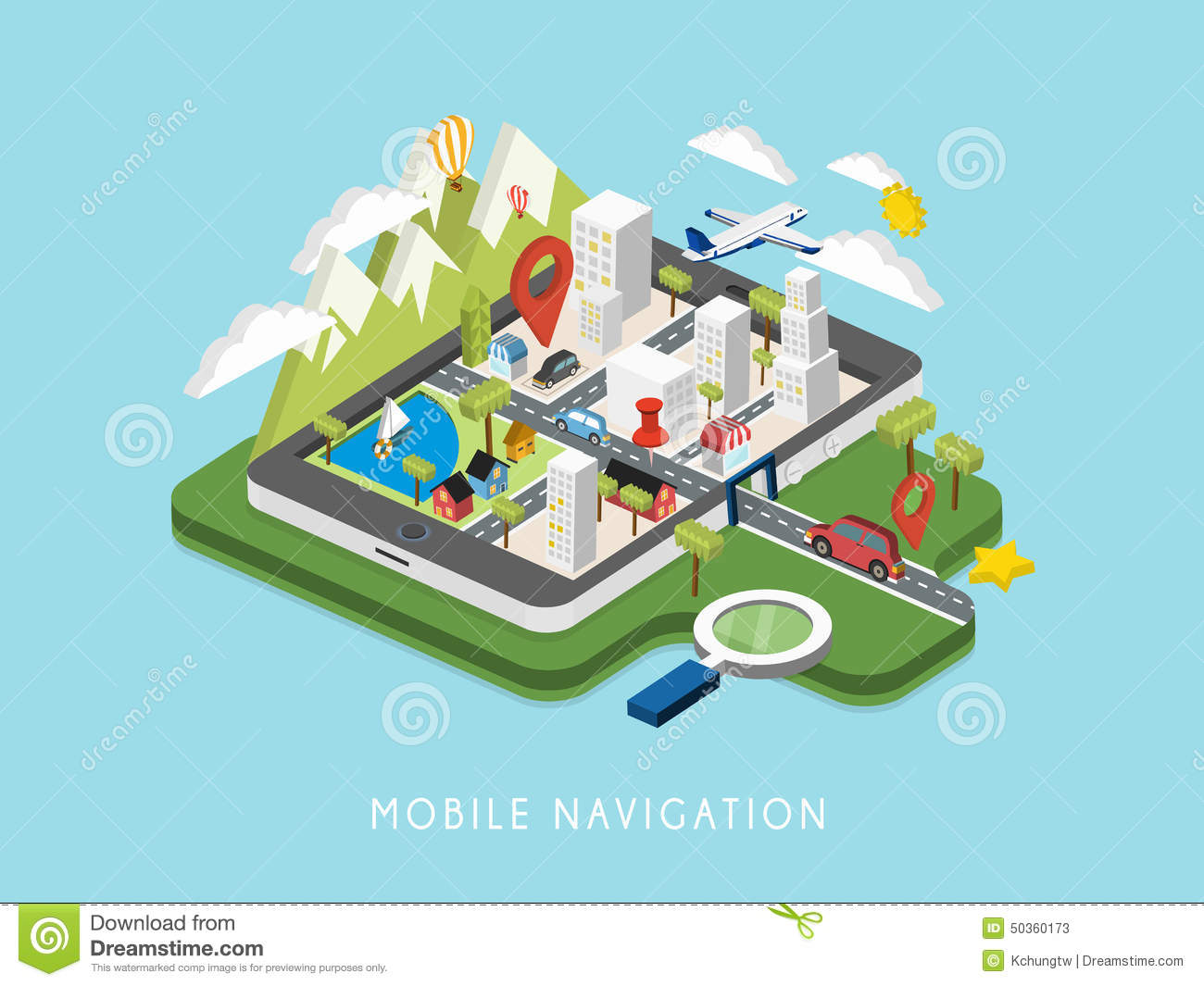 Flat 3d Isometric Mobile Navigation Illustration Stock