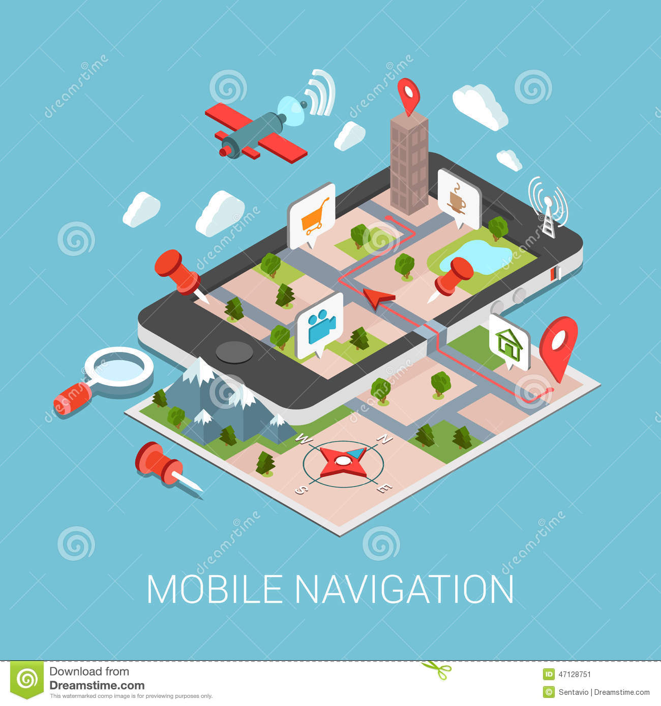 3d Building Design Online Free Flat 3d Isometric Mobile Navigation Web Infographic