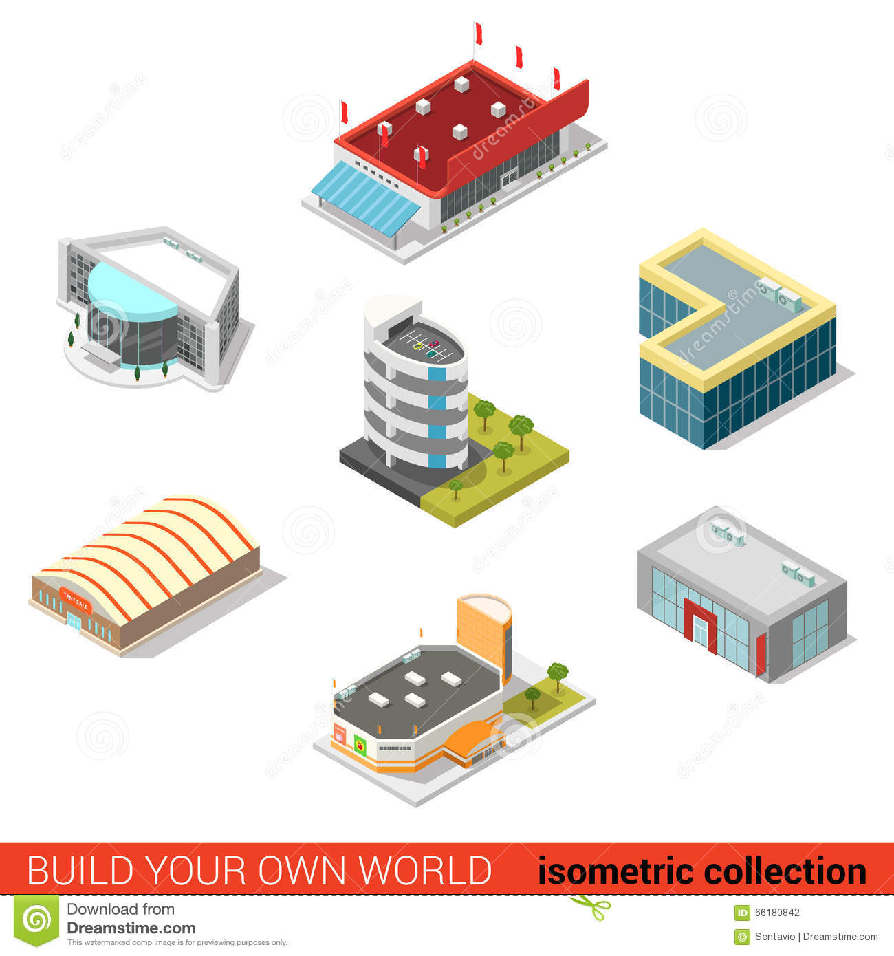 Flat 3d Isometric Public Buildings Vector: Ice Arena Mall