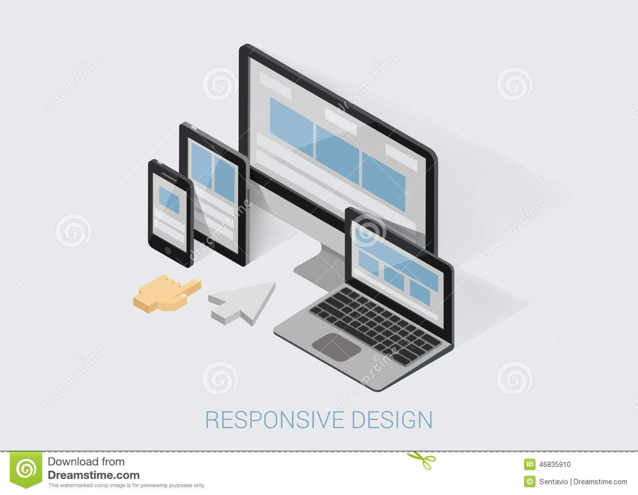 Flat 3d isometric responsive web design infographic for 3d flat design online