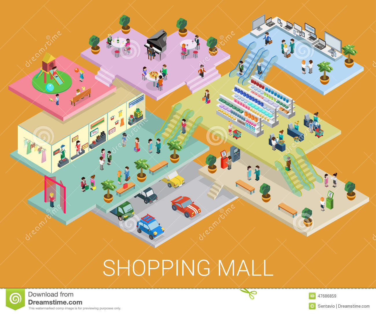 Flat 3d Isometric Shopping Mall Concept Vector Stock