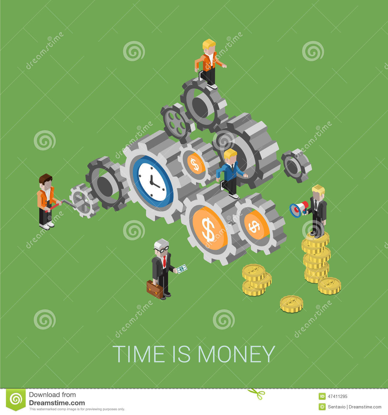 Flat 3d isometric style modern time is money infographic concept