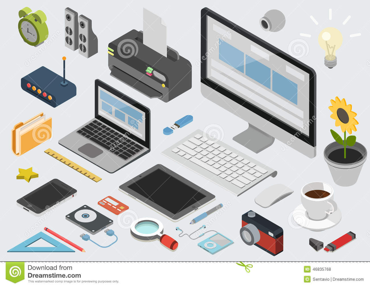 Flat 3d isometric technology workspace infographic icon for 3d flat design online