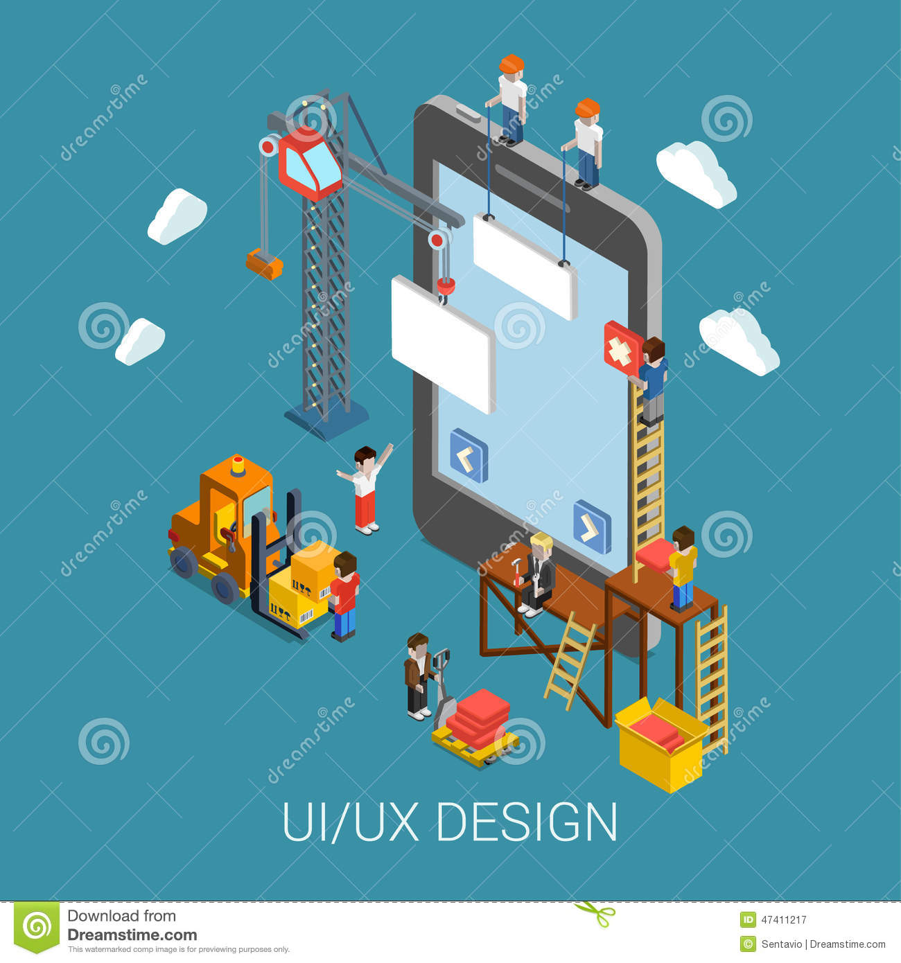 Flat 3d isometric ui ux design web infographic concept for 3d flat design online