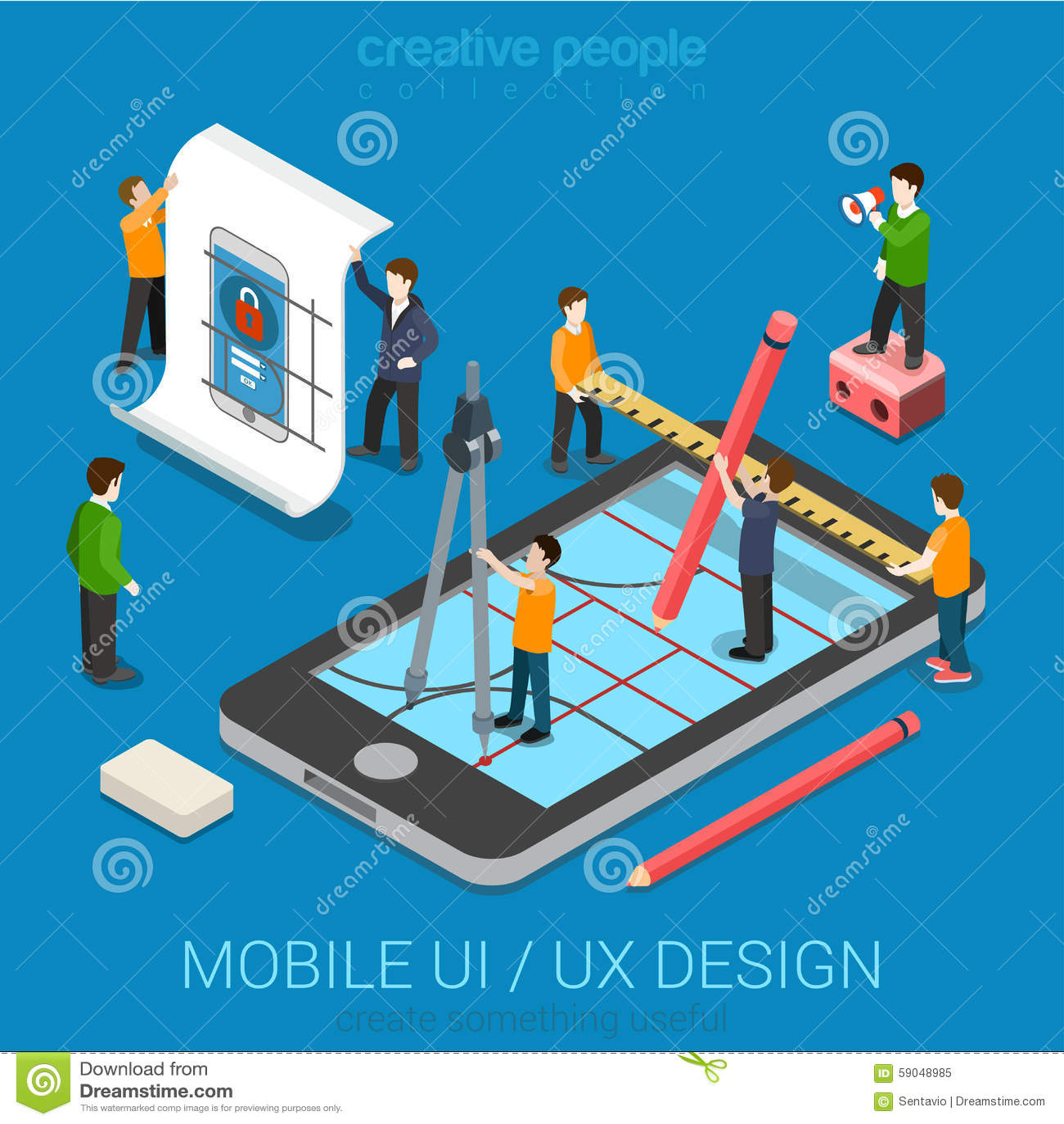 Flat 3d Isometric UI/UX Design Web Infographic Concept ...