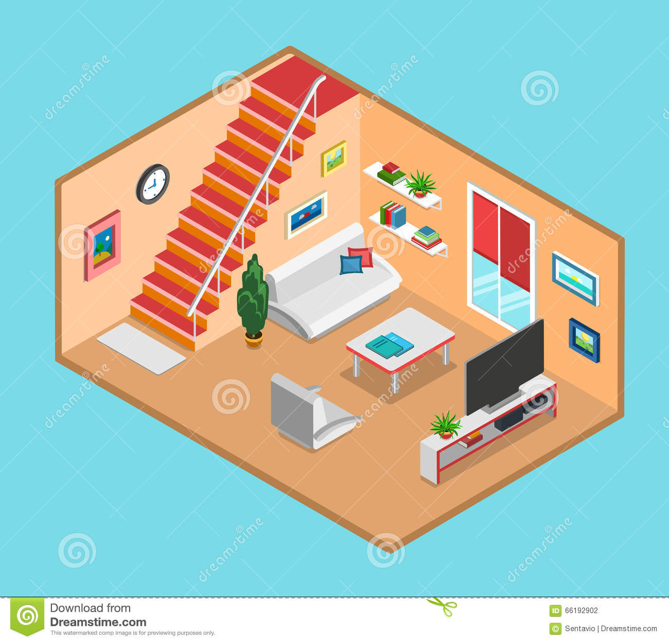 flat 3d isometric vector living room interior web