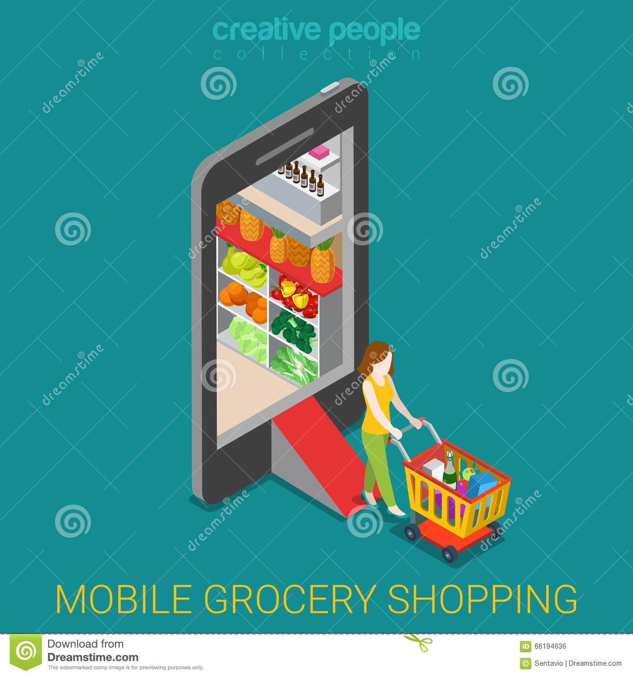 Online Shopping And Consumerism Concept. Mobile Grocery Shopping E ...