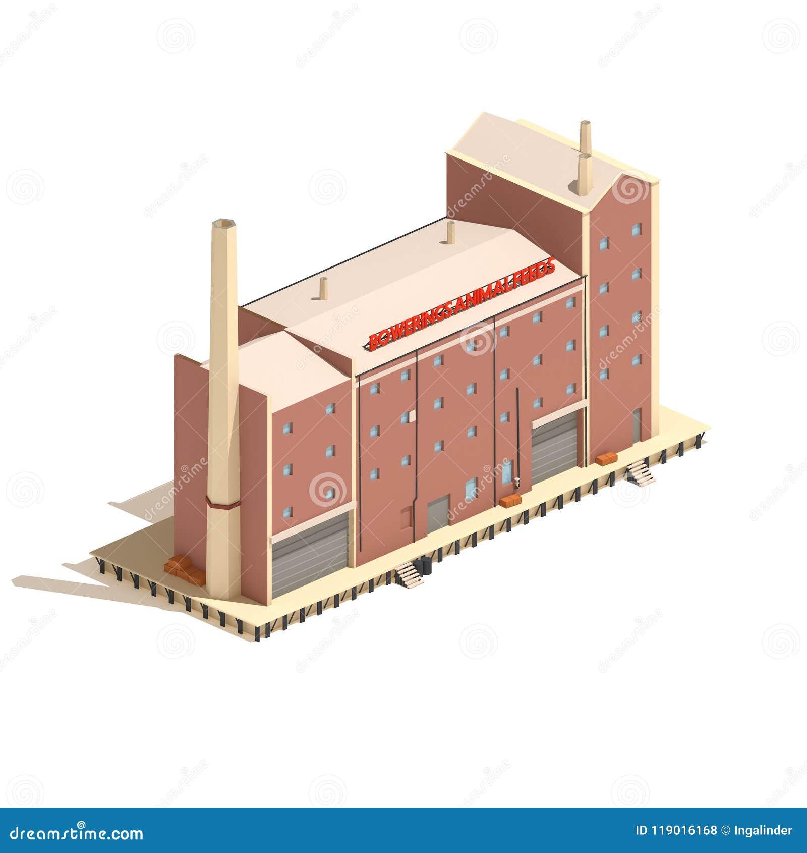 Flat 3d model isometric factory building illustration isolated on white background.