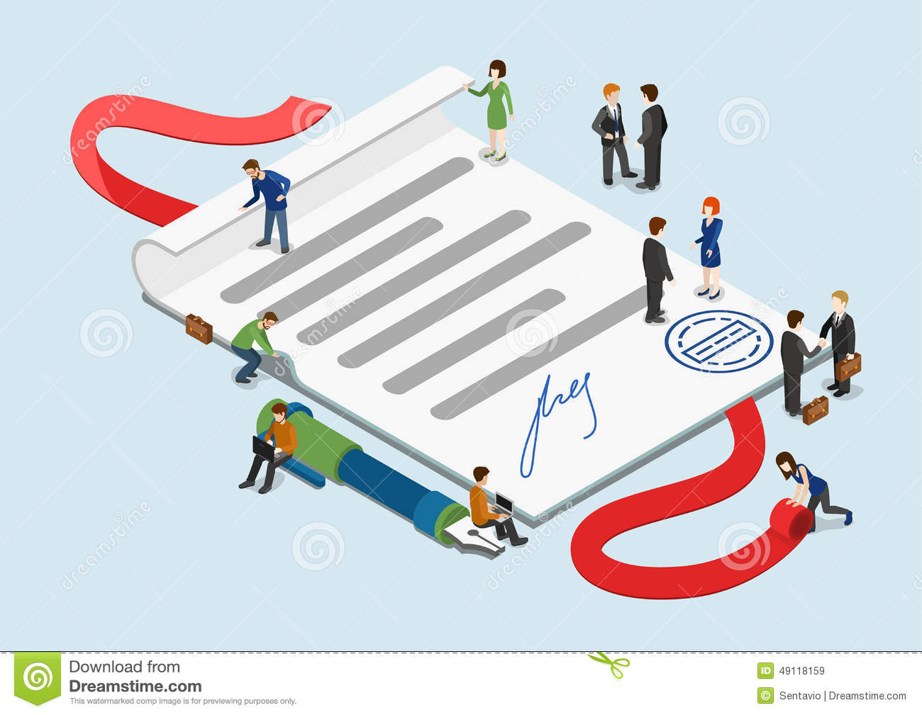 Flat 3d Web Isometric Contract Mini People Infographic Concept Royalty Free  Stock Images
