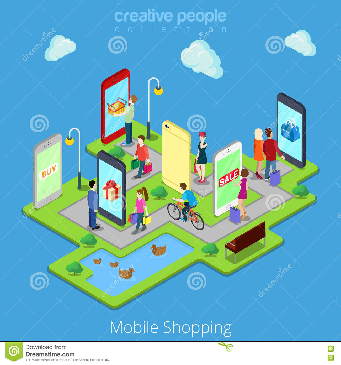 Flat 3d web isometric mobile e commerce electronic stock for Shopping online mobili
