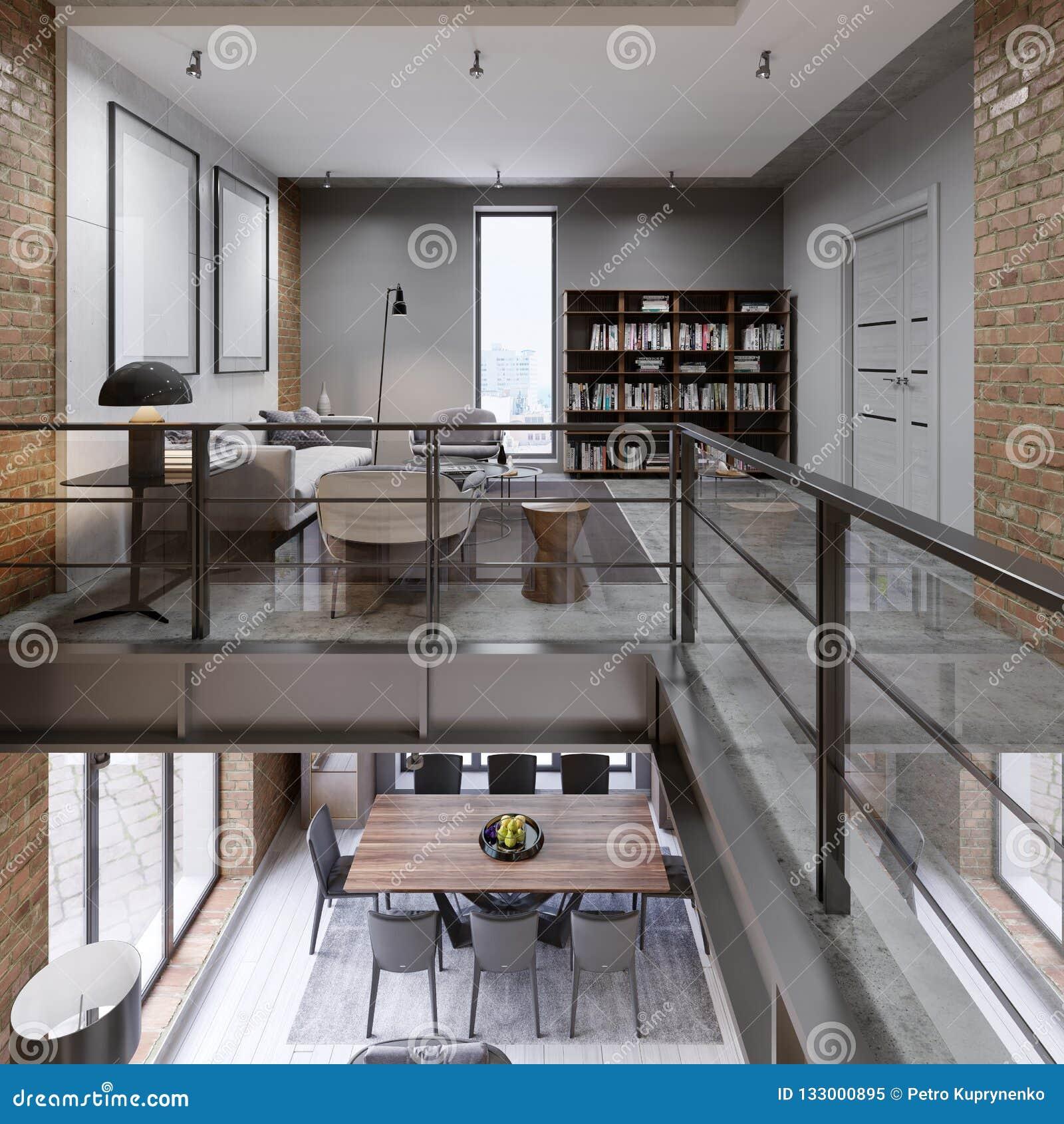 Flat de op twee niveaus van de Storiedzolder met laag, eettafel en bibliotheek, open plek, panorama
