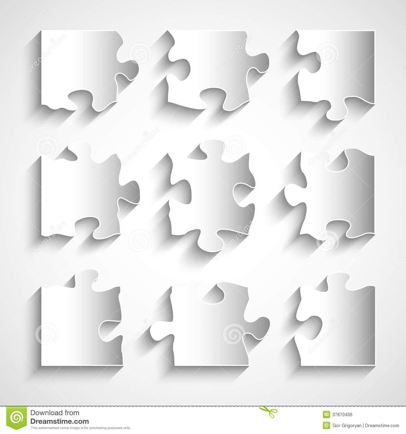 Flat Design 9 Piece Puzzle Template Stock Vector