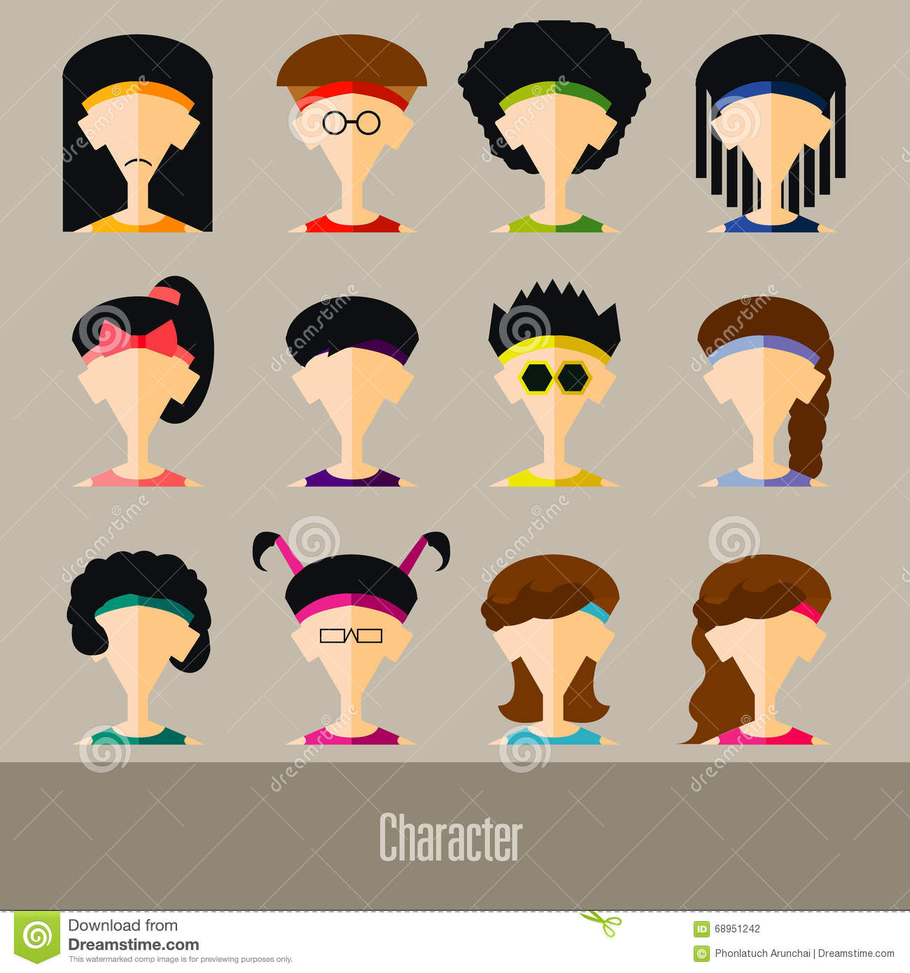 flat avatar app icons set user face people vector stock vector