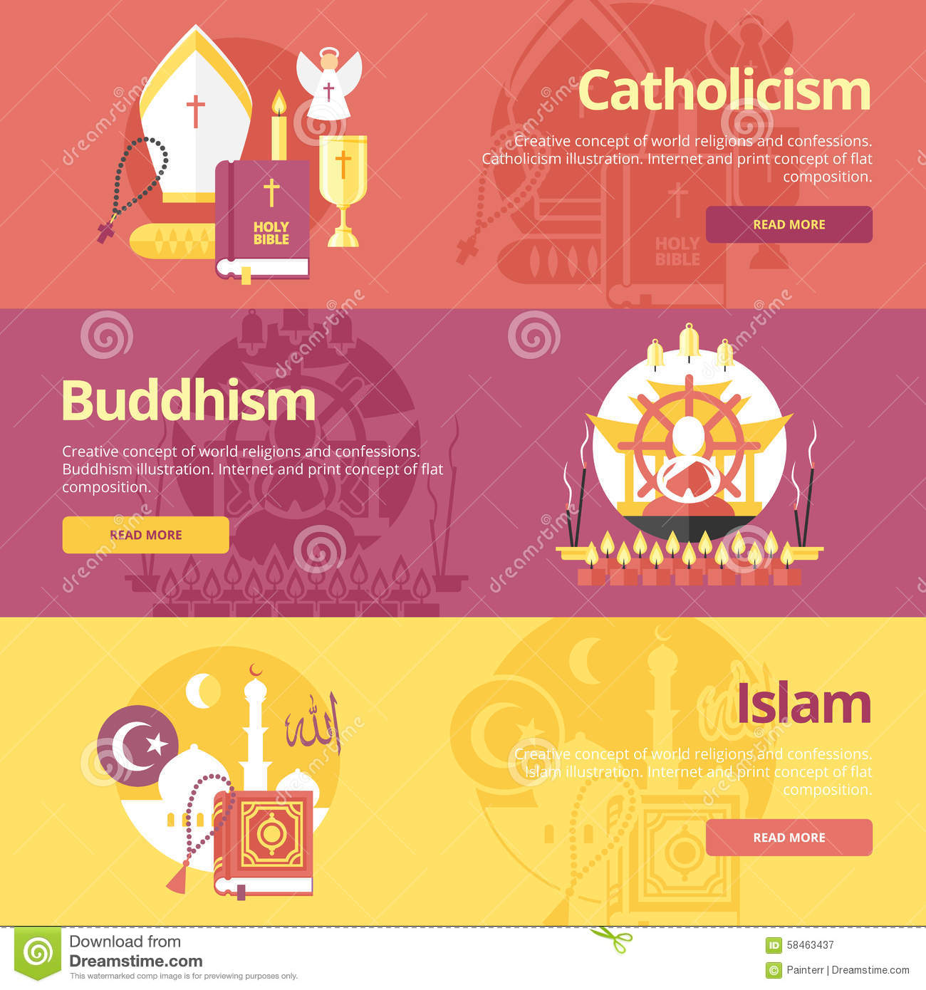 buddhism and catholicism Practices prayer, sacraments (some branches), worship in church, reading of the bible, acts of charity, communion meditation, yoga, contemplation, yagna (communal worship), offerings in the temple use of statues and pictures in catholic & orthodox churches common goal of religion to love god and.