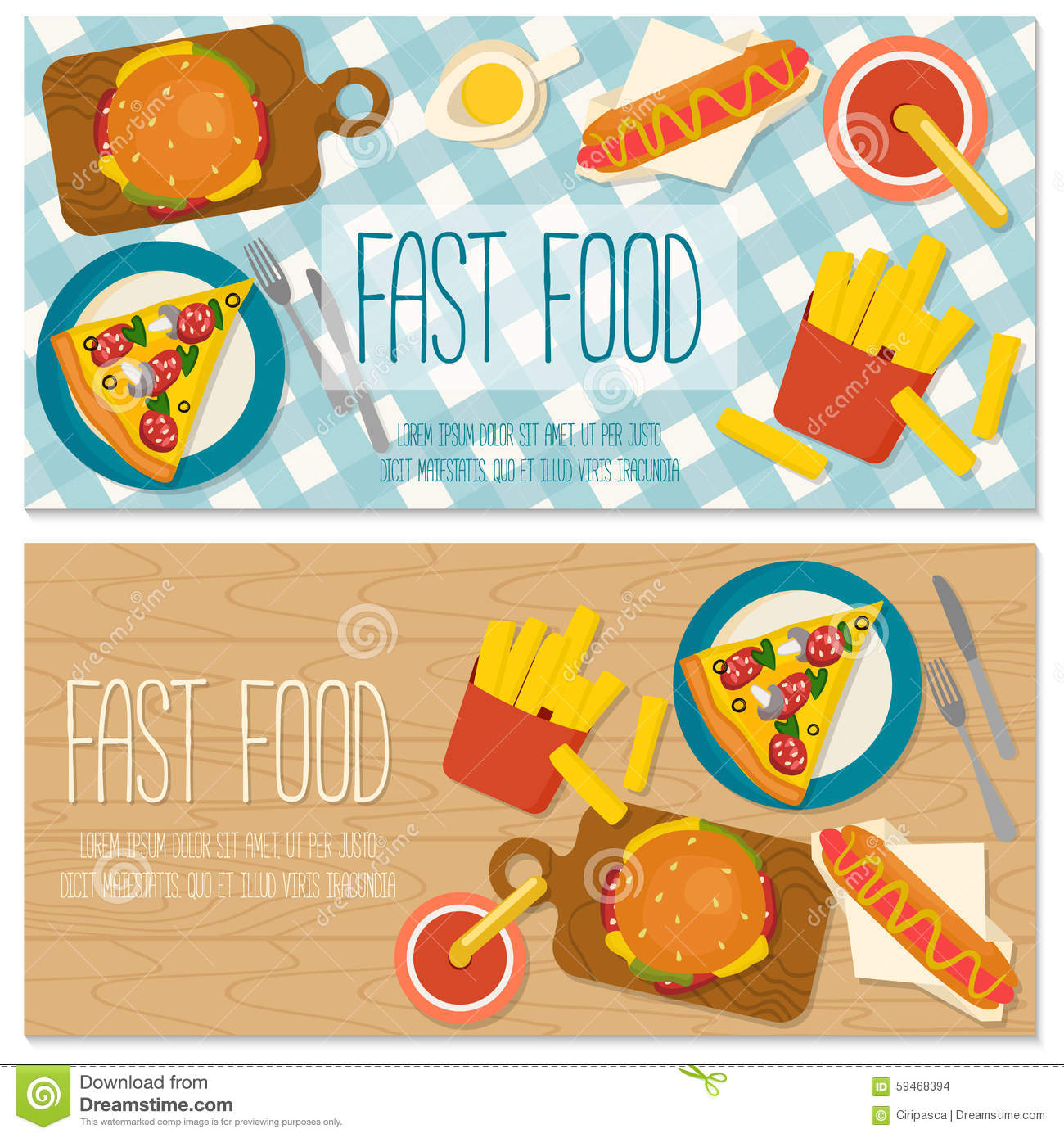 flat design banner with fast food stock vector  image: 59468394