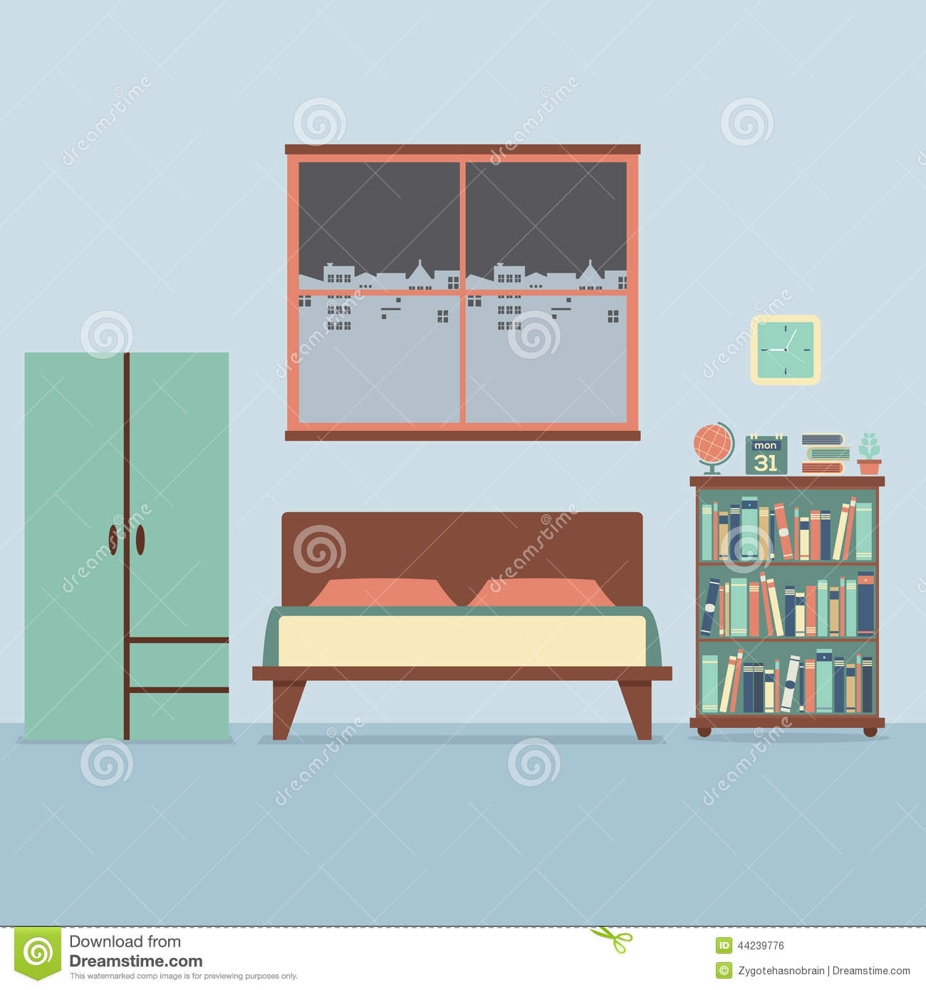 Flat design bedroom interior stock vector image 44239776 for Interior design for 2 bed flat