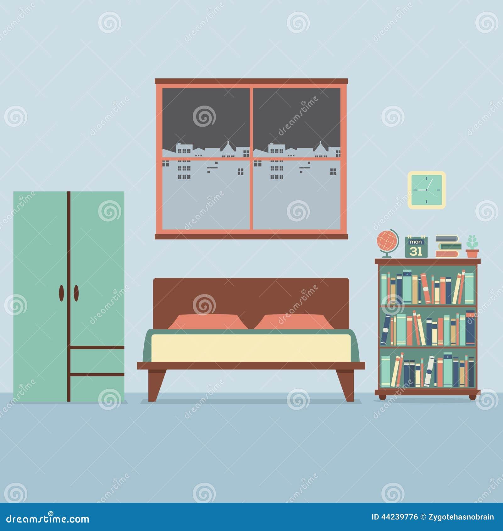 Flat Design Bedroom Interior Stock Vector Illustration