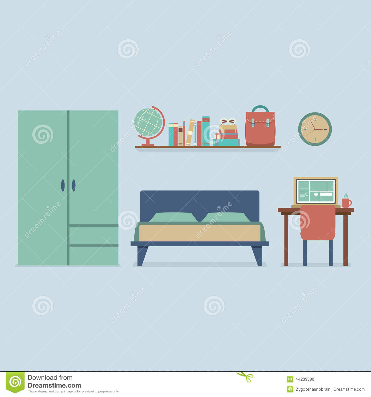 Flat design bedroom interior stock vector image 44239880 for Interior design images vector