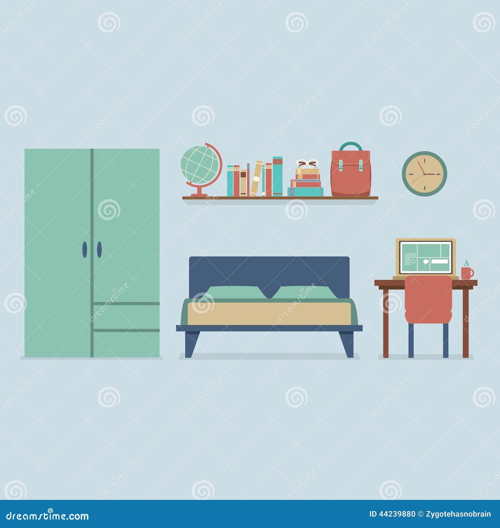 Flat design bedroom interior stock vector image 44239880 for Flat bedroom designs