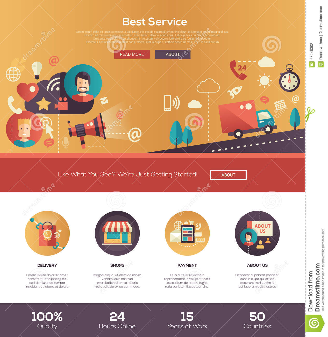 Flat design best service website header banner with for Best online store website