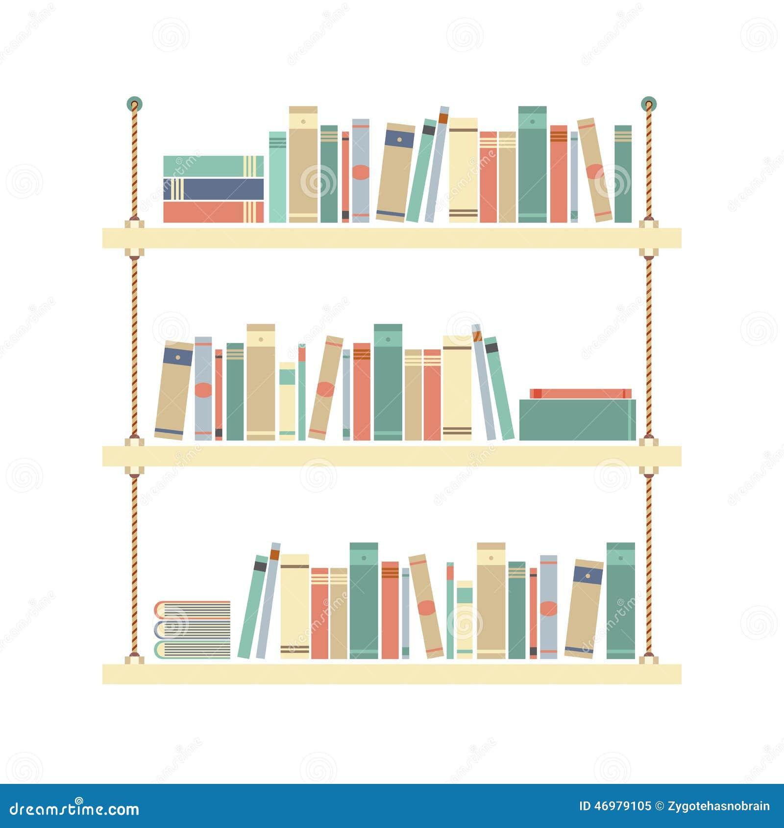 Flat Design Books On Rope Shelf Stock Vector Image 46979105