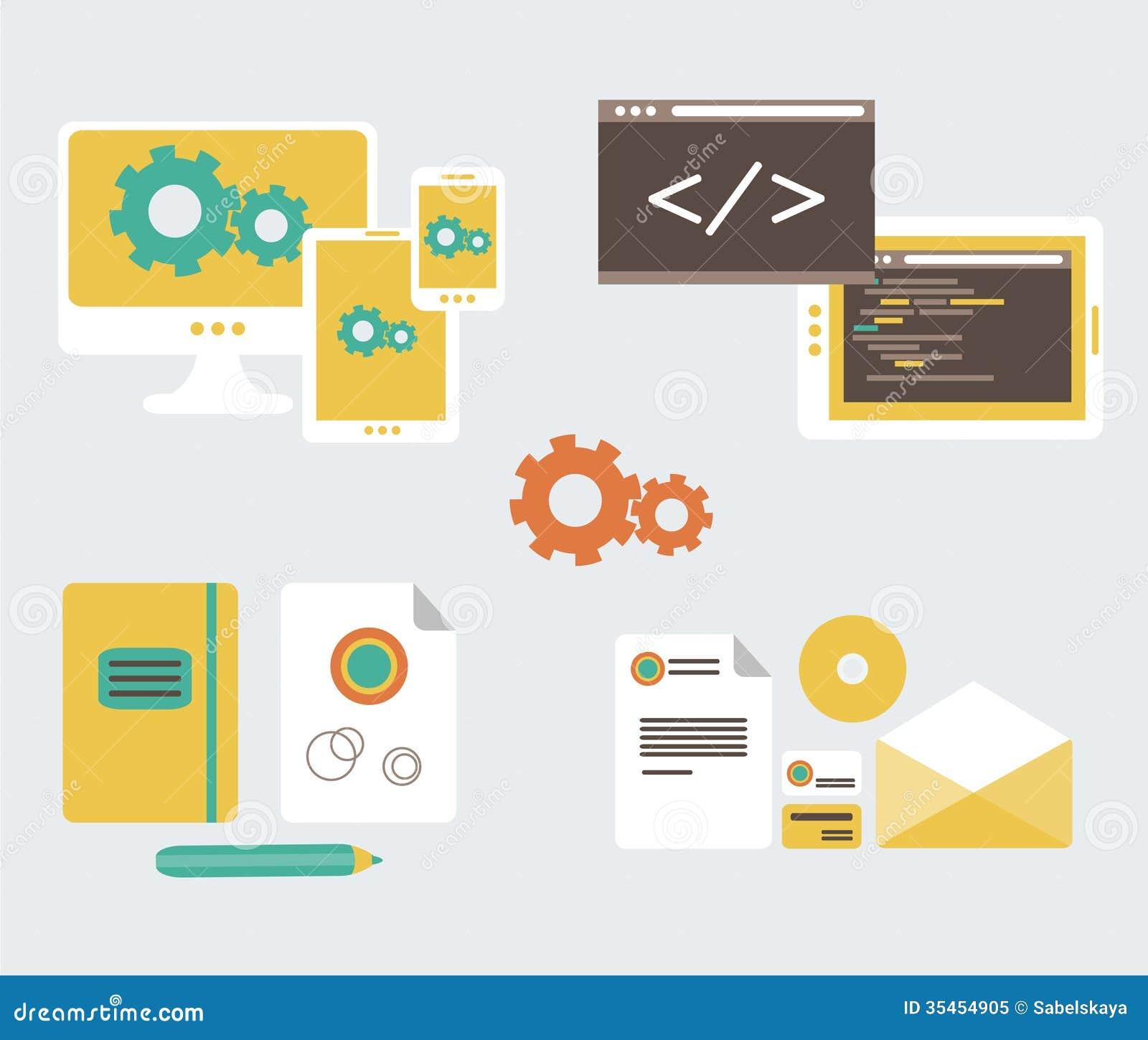 Vector Illustration Web Designs: Flat Design Of Business Branding And Development W Royalty