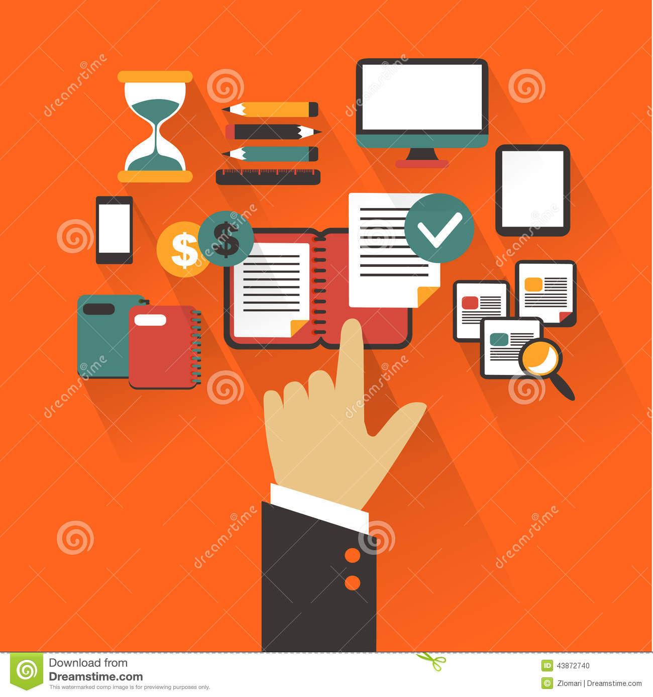 Flat design. Business concept with hand. Writing infographic