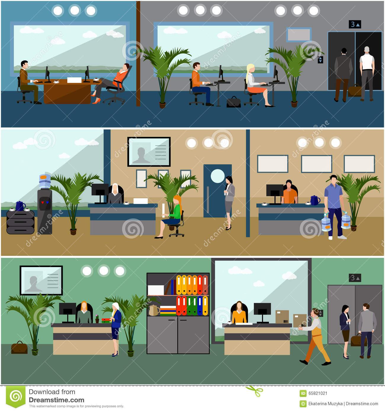 Flat design of business people or office workers company for Office design vector