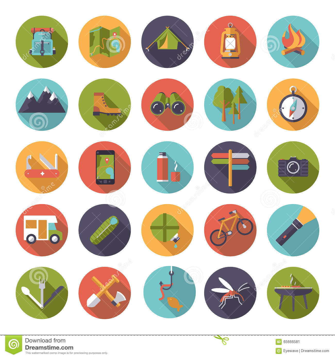 Flat Design Camping And Outdoor Pursuits Icon Set Stock ...