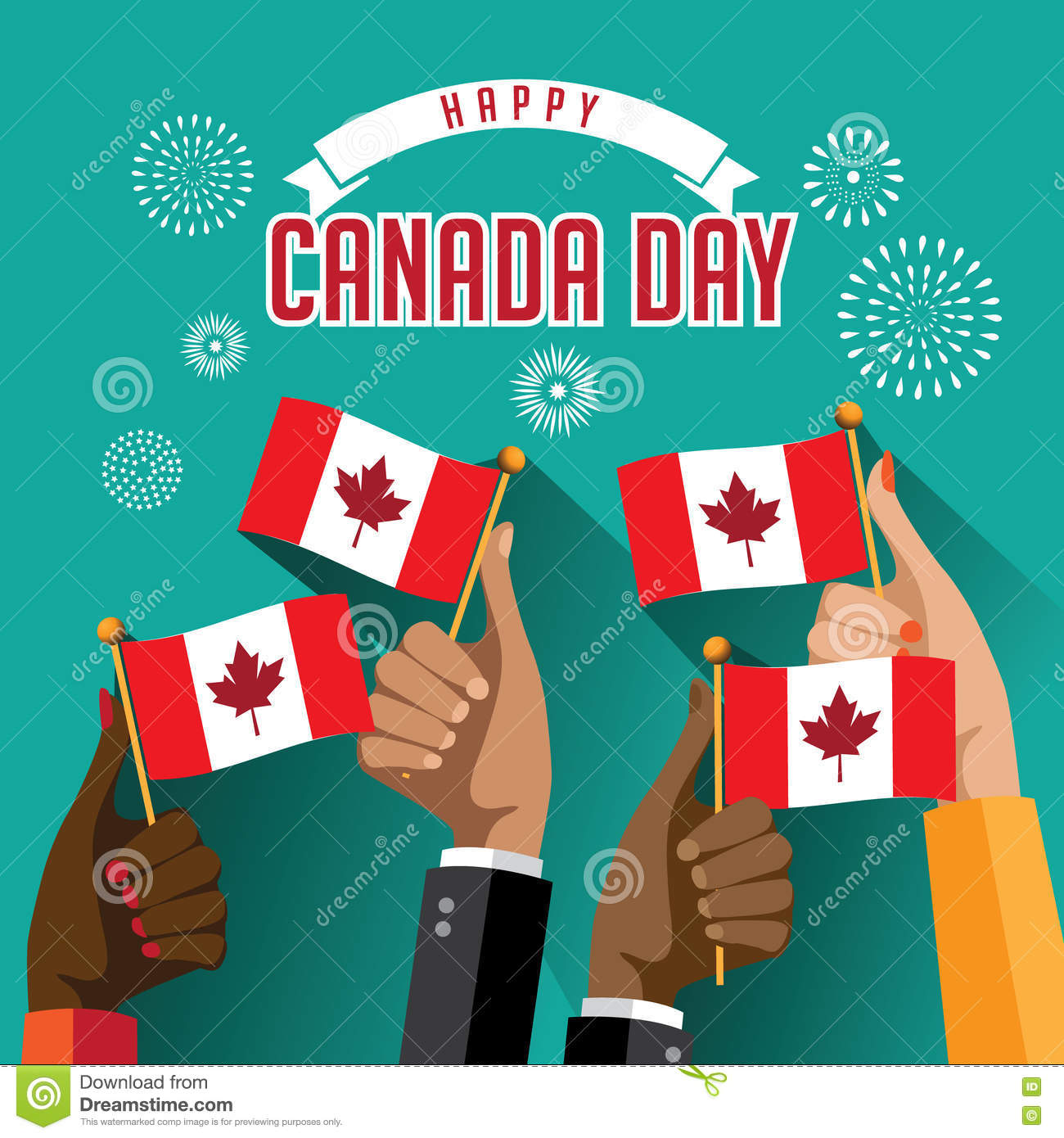 Flat design Canada Day hands holding flags with fireworks design.