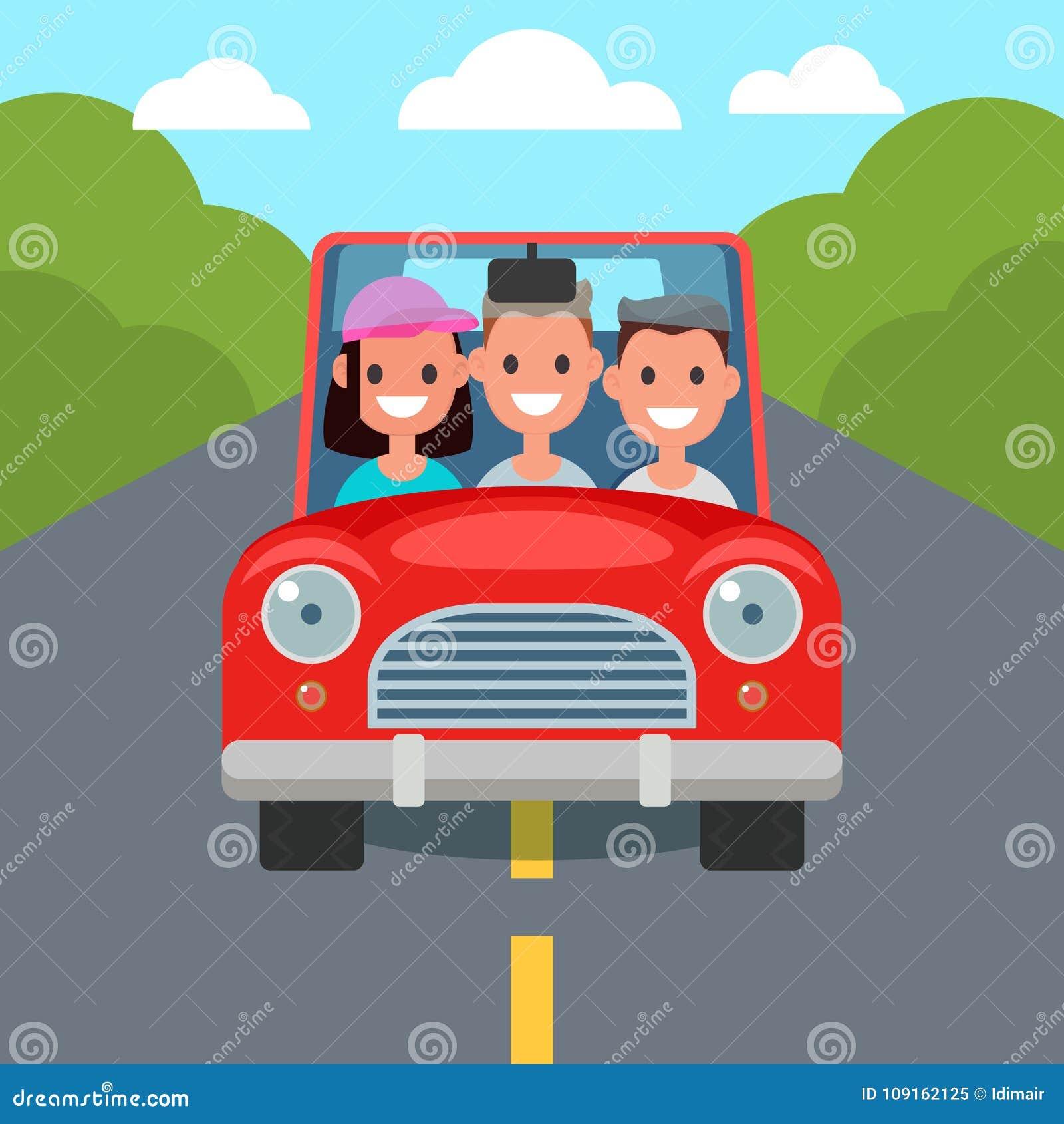 Flat Design Car Driving Characters. Car sharing. Vector