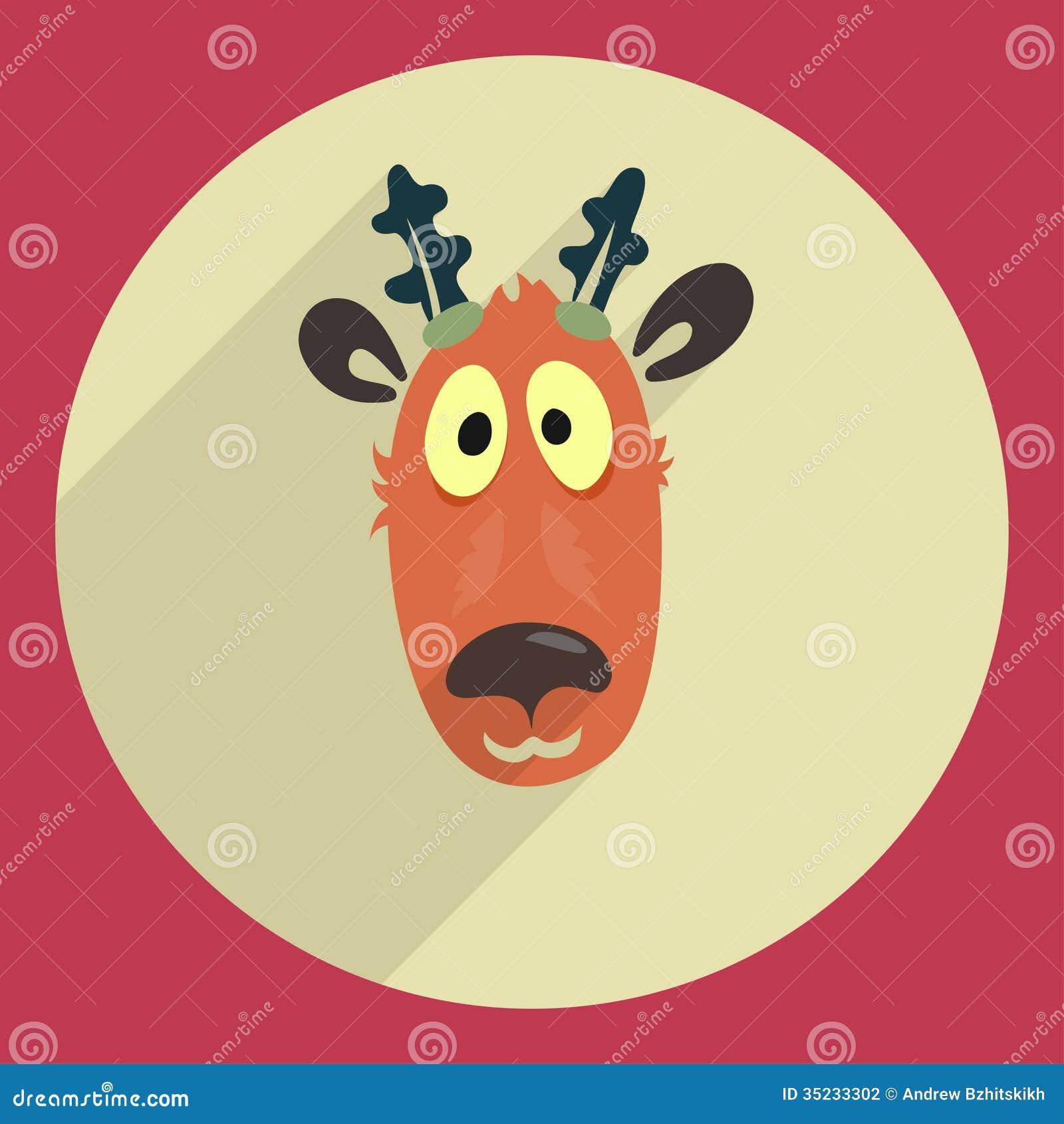 Cartoon Reindeer Head Template Flat design cartoon head of a