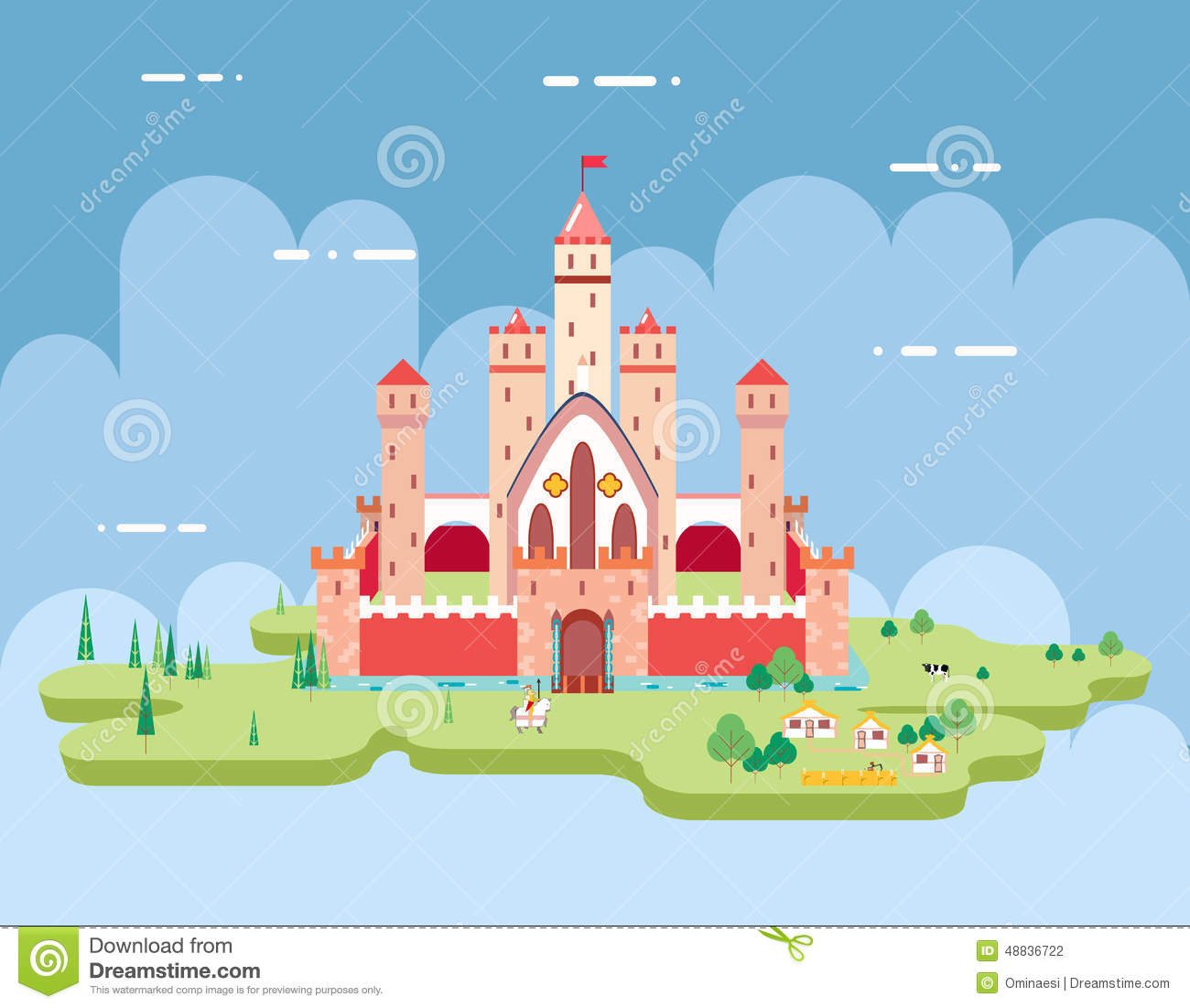 Flat design castle cartoon magic fairytale icon stock Design a castle online