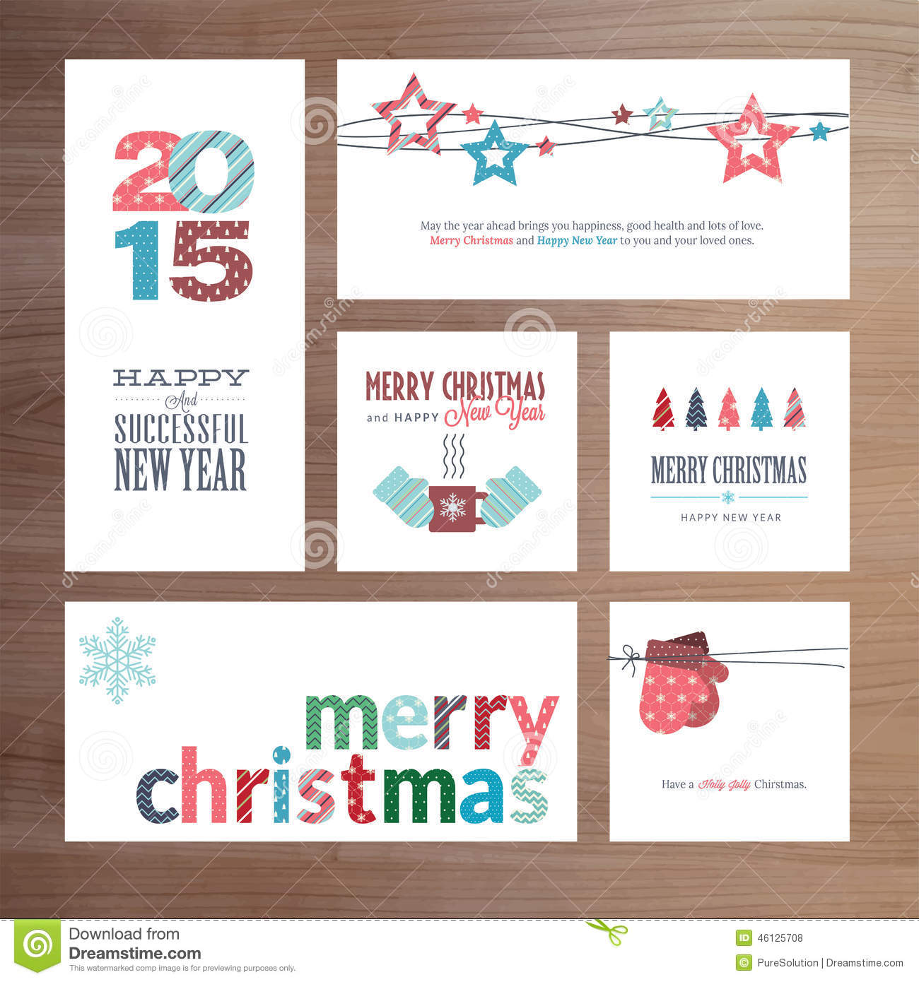 Flat Design Christmas And New Year Greeting Card Templates Stock