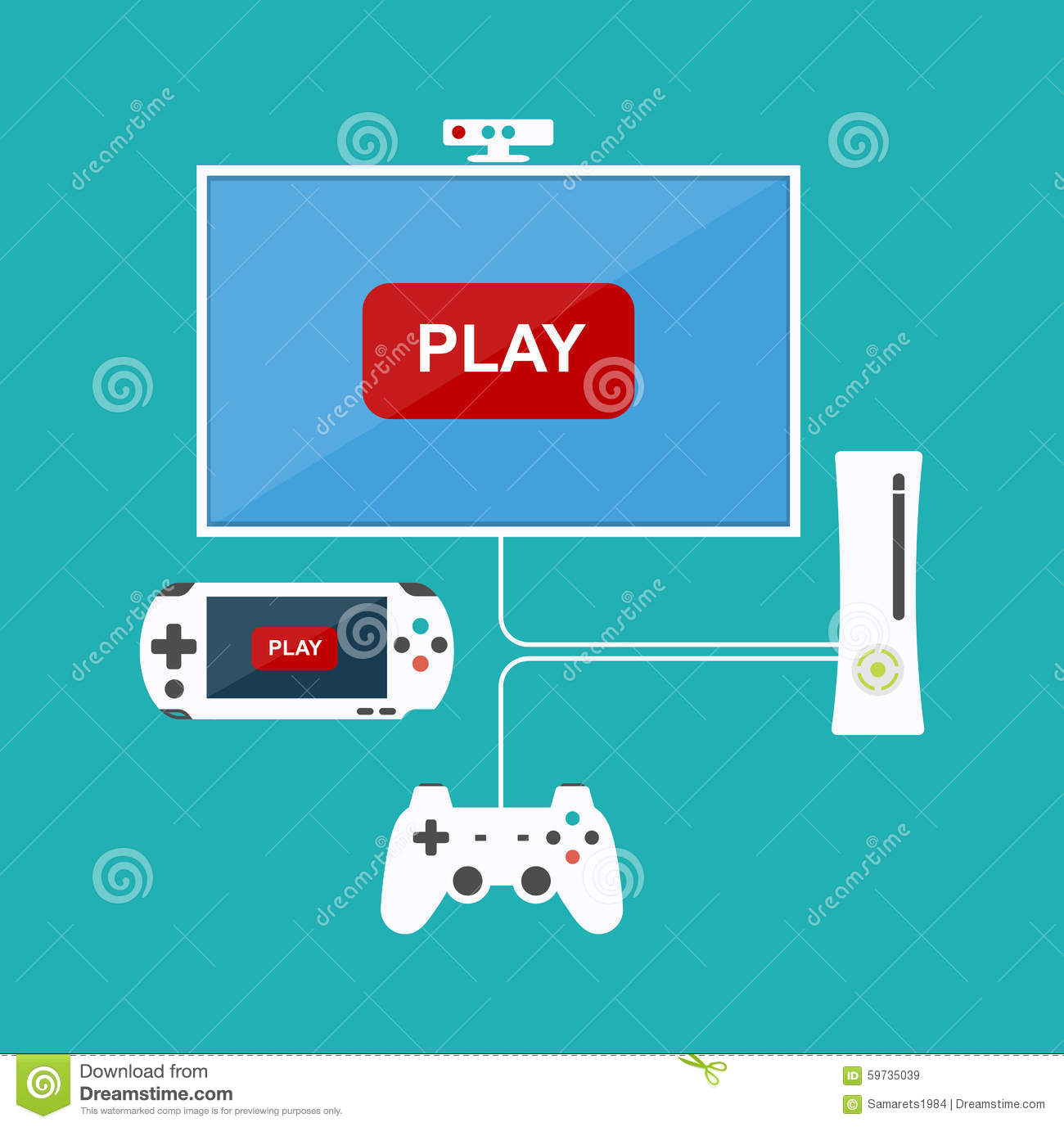 Flat Design Computer Games Concept Game Development