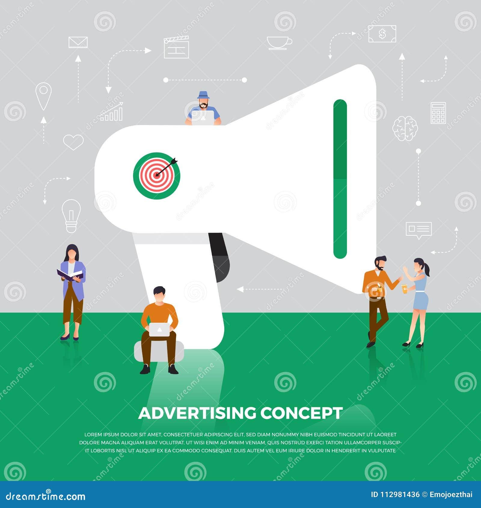 Flat design concept advertising digital marketing. Group people